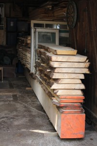 Freshly cut wood stacked evenly