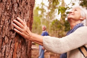Woman touching mature tree that needs a crown reduction